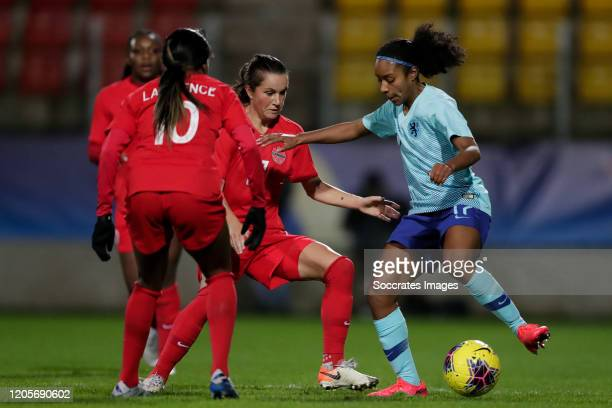 Jessie Fleming of Canada Women Ashleigh Weerden of Holland Women during the International Friendly Women match between Canada v Holland at the Stade...