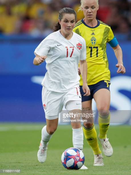 Jessie Fleming of Canada Women during the World Cup Women match between Sweden v Canada at the Parc des Princes on June 24 2019 in Paris France