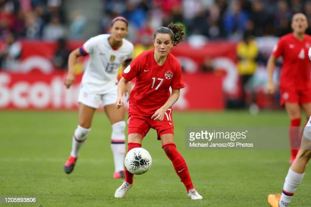 Jessie Fleming of Canadatries to control the ball during a game between Canada and United States at Dignity Health Sports Park on February 9 2020 in...