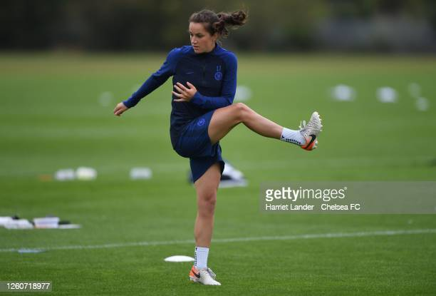 Jessie Fleming of Chelsea in action during a Chelsea FC Women's Training Session at Chelsea Training Ground on July 27 2020 in Cobham England