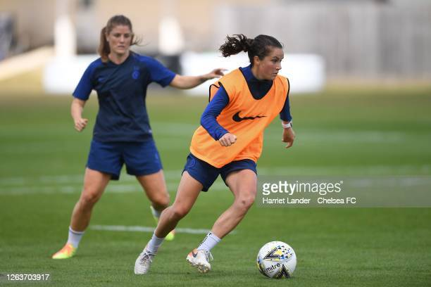Jessie Fleming of Chelsea in action during a Chelsea FC Women's Training Session at Chelsea Training Ground on August 03 2020 in Cobham England