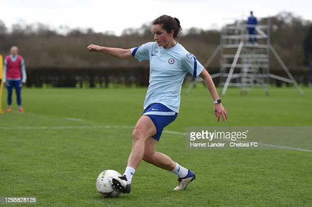 Jessie Fleming of Chelsea in action during a Chelsea FC Women's Training Session at Chelsea Training Ground on January 11, 2021 in Cobham, England.