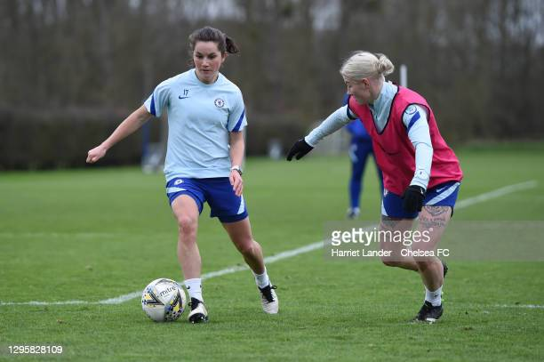 Jessie Fleming of Chelsea is challenged by Bethany England of Chelsea during a Chelsea FC Women's Training Session at Chelsea Training Ground on...