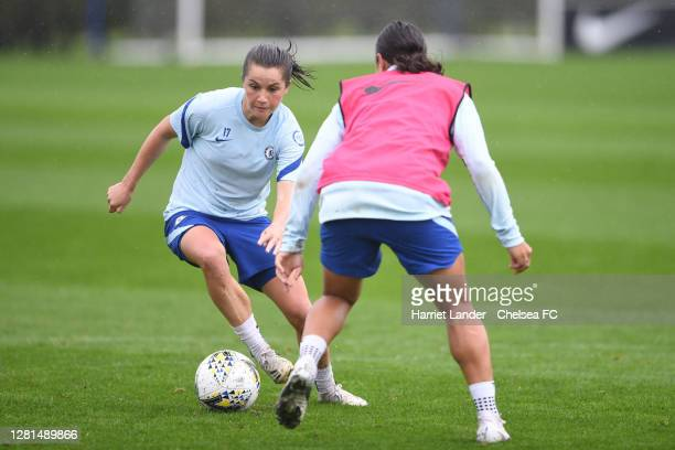 Jessie Fleming of Chelsea takes on Sam Kerr of Chelsea during a Chelsea FC Women Training Session at Chelsea Training Ground on October 21 2020 in...
