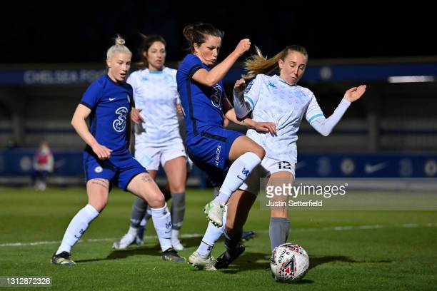 Jessie Fleming of Chelseahas a shot blocked by Grace Neville of London City Lionessesduring the Vitality Women's FA Cup Fourth Round match between...