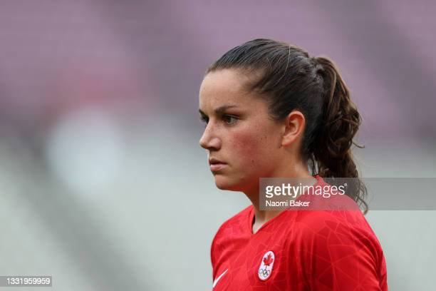 Jessie Fleming of Team Canada looks on during the Women's Football Semifinal match between USA and Canada at Kashima Stadium on August 02, 2021 in...