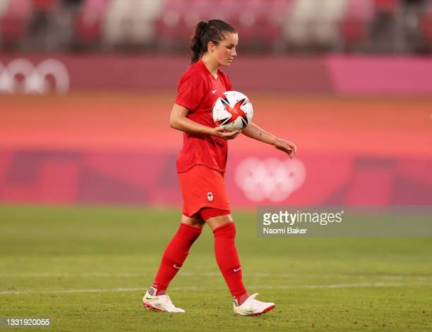 Jessie Fleming of Team Canada prepares to take a penalty during the Women's Semi-Final match between USA and Canada on day ten of the Tokyo Olympic...