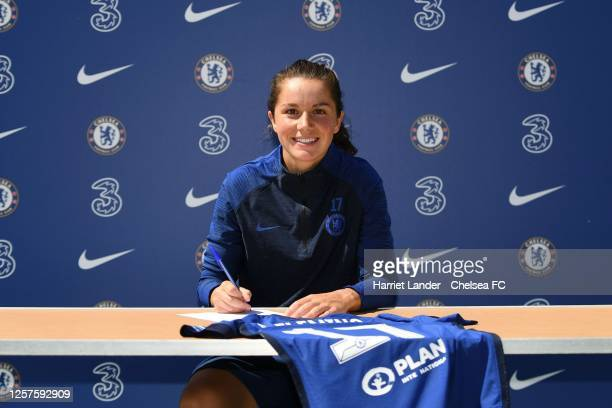 Jessie Fleming poses for a photo as she signs for Chelsea FC Women at Chelsea Training Ground on July 22 2020 in Cobham England