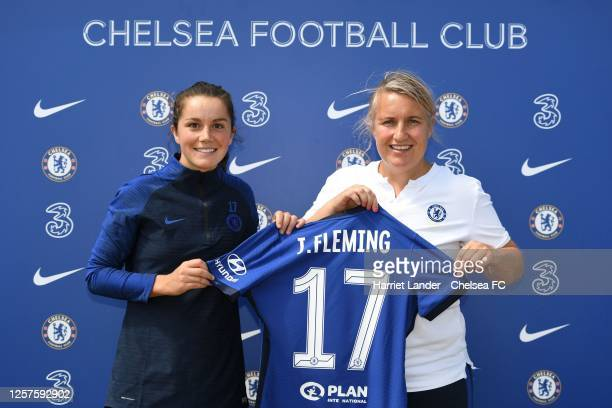 Jessie Fleming poses for a photo with Emma Hayes Manager of Chelsea as she signs for Chelsea FC Women at Chelsea Training Ground on July 22 2020 in...