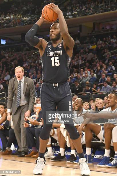 Jessie Govan of the Georgetown Hoya takes a jump shot during the Big East Conference basketball Quarterfinal game against the Seton Hall Pirates at...