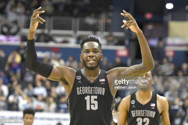 Jessie Govan of the Georgetown Hoyas celebrates a shot during a college basketball game against the Villanova Wildcats at the Capital One Arena on...