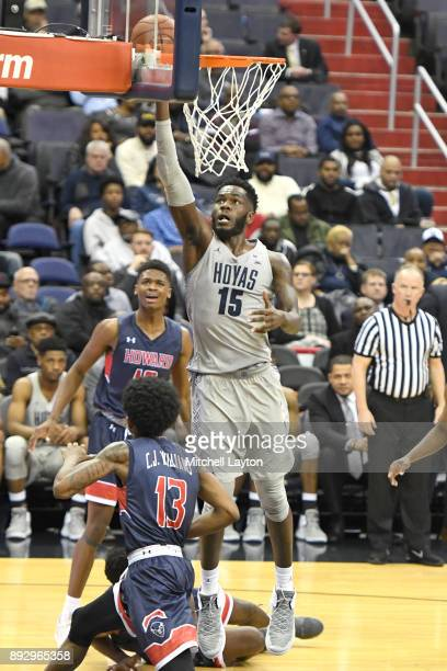Jessie Govan of the Georgetown Hoyas drives to the basket during a college basketball game against the Howard Bison at Capitol One Arena on December...
