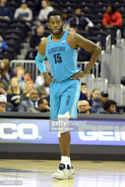 Jessie Govan of the Georgetown Hoyas looks on during a college basketball game against the Howard Bison at the Capital One Arena on December 29 2018...