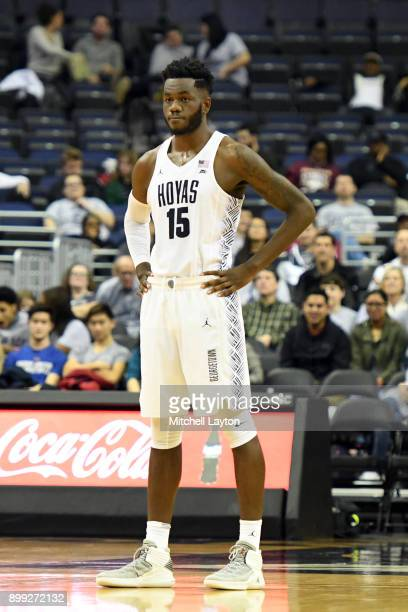 Jessie Govan of the Georgetown Hoyas looks on during a college basketball game against the Alabama AM Bulldogs at the Capitol One Arena on December...
