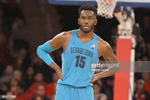 Jessie Govan of the Georgetown Hoyas looks on during a college basketball game against the St John's Red Storm at Madison Square Garden on January 9...