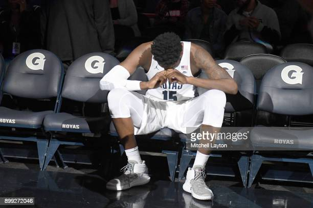 Jessie Govan of the Georgetown Hoyas on the bench before a college basketball game against the Alabama AM Bulldogs at the Capitol One Arena on...