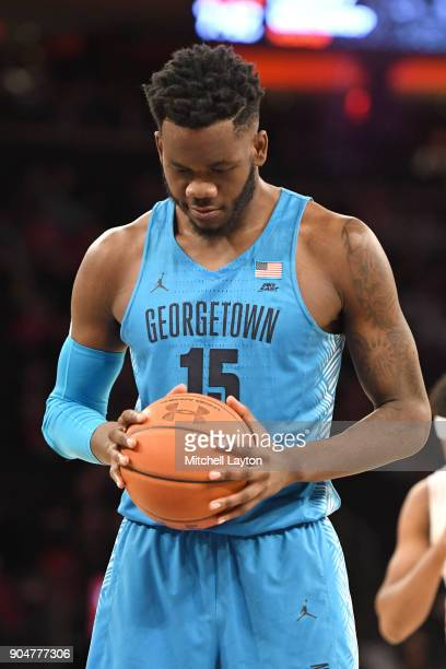 Jessie Govan of the Georgetown Hoyas prepares for a foul shot during a college basketball game against the St John's Red Storm at Madison Square...