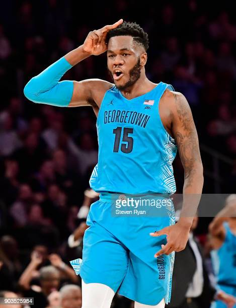 Jessie Govan of the Georgetown Hoyas reacts after hitting the eventual game winning three point basket against the St John's Red Storm during the...