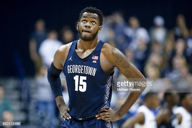 Jessie Govan of the Georgetown Hoyas reacts against the Xavier Musketeers during the second half at Cintas Center on January 22 2017 in Cincinnati...