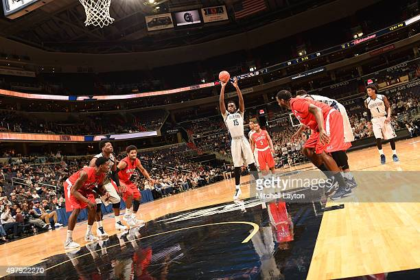 Jessie Govan of the Georgetown Hoyas takes a foul shot during a college basketball game against the Radford Highlanders at the Verizon Center on...