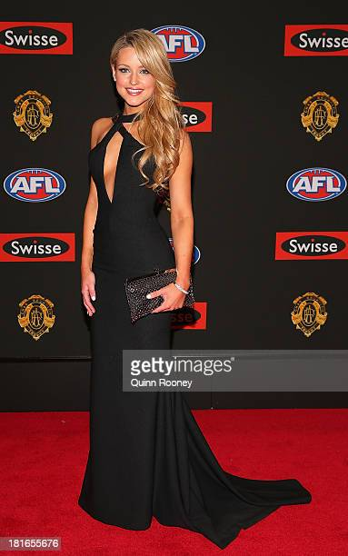 Jessie Habermann the partner of Marc Murphy of the Blues poses ahead of the 2013 Brownlow Medal at Crown Palladium on September 23, 2013 in...