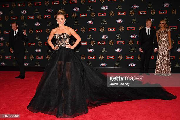 Jessie Hultgren the partner of David Armitage of the Saints arrives ahead of the 2016 Brownlow Medal at Crown Entertainment Complex on September 26...