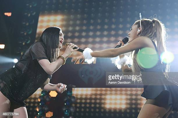Jessie J and Ariana Grande performs during Y100's Jingle Ball 2014 at BBT Center on December 21 2014 in Sunrise Florida