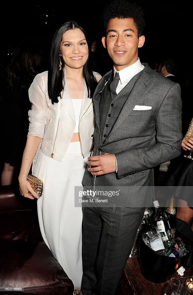 Jessie J (L) and Jordan 'Rizzle' Stephens attend the Universal Music Brits Party hosted by Bacardi at the Soho House pop-up on February 20, 2013 in London, England.