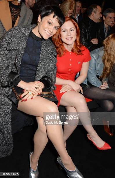 Jessie J and Katy B attend the Hunter Original AW 2014 Show at Ambika P3 Gallery University of Westminster on February 15 2014 in London England