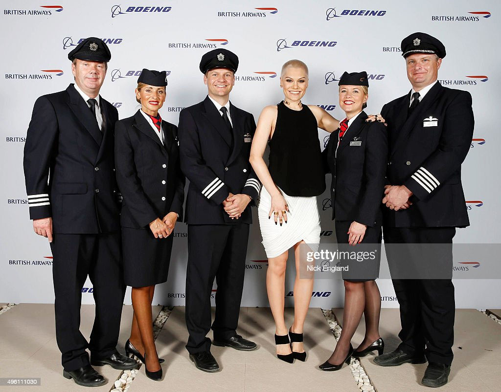 Jessie J. (C) attends the British Airways celebration of the launch of its new Boing 787-9 Dreamliner on its daily London-Abu Dhabi-Muscat service. British Airways hosts a secret island party with Australian actress Margot Robbie, Hollywood star Orlando Bloom and a surprise live performance from chart star and judge of TV's The Voice, Jessie J. at Zaya Nurai Island on November 6, 2015 in Abu Dhabi, United Arab Emirates.