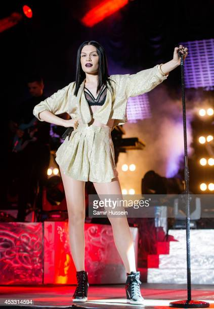 Jessie J performs at Sandown Park on August 7 2014 in Esher England