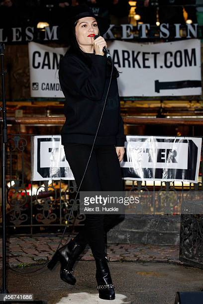 Jessie J performs during an impromptu busking session for Transmitter TV at The Stables on October 6 2014 in London England