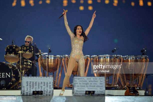 Jessie J performs with Roger Taylor of Queen during the Closing Ceremony on Day 16 of the London 2012 Olympic Games at Olympic Stadium on August 12...