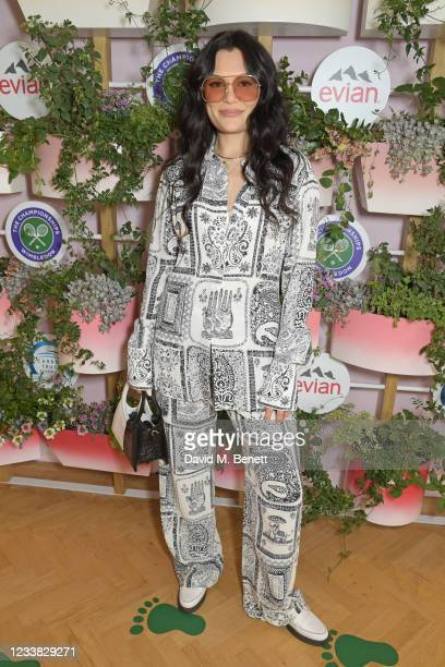 Jessie J poses in evian's VIP suite, certified as carbon neutral by The Carbon Trust, during day eight of The Championships at Wimbledon on July 6,...