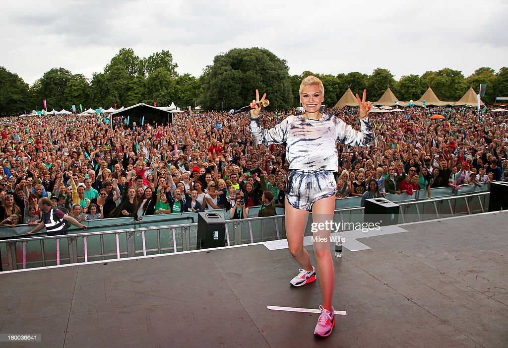 Jessie J welcomes 19,000 runners back to Greenwich Park, to celebrate reaching their #justdoit goals at Run to the Beat powered by Nike+ on September 8, 2013 in London, England.