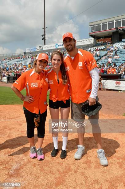 Jessie James Decker, Kennedy Kraus, and Eric Decker participate in City of Hope Celebrity Softball Game during the CMA Festival at Greer Stadium on...