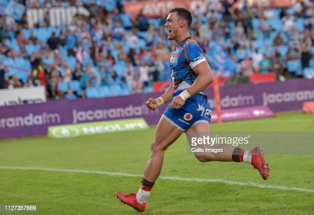 Jessie Kriel of the Vodacom Bulls celebrates after scoring his try during the Super Rugby match between Vodacom Bulls and DHL Stormers at Loftus...