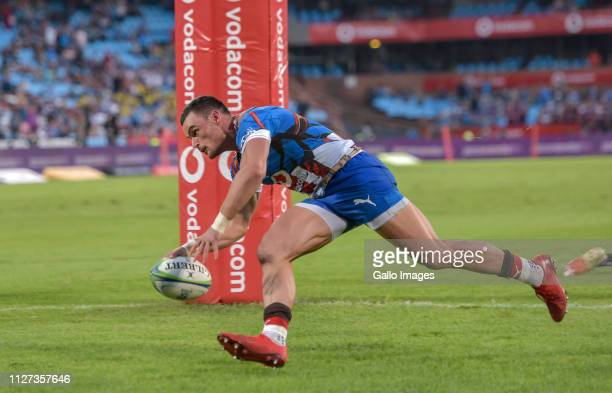 Jessie Kriel of the Vodacom Bulls scoring his try during the Super Rugby match between Vodacom Bulls and DHL Stormers at Loftus Versfeld on February...