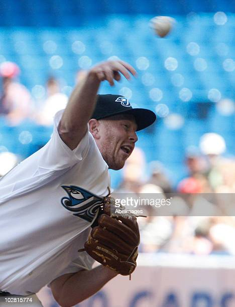 Jessie Litsch of the Toronto Blue Jays pitches against the Boston Red Sox during the game at the Rogers Centre July 11 2010 in Toronto Ontario Canada