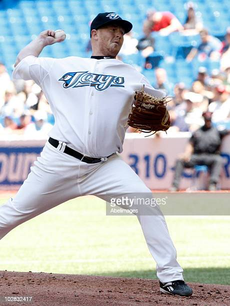 Jessie Litsch of the Toronto Blue Jays throws a pitch against the Boston Red Sox during a MLB game at the Rogers Centre July 11 2010 in Toronto...