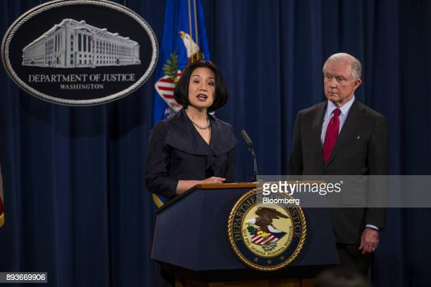 Jessie Liu US district attorney for Washington DC speaks as Jeff Sessions US attorney general right listens during a news conference at the US...