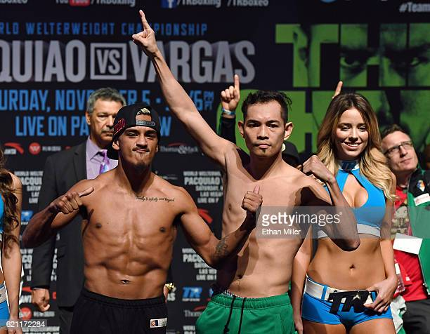 Jessie Magdaleno and WBO junior featherweight champion Nonito Donaire pose during their official weighin at the Encore Theater at Wynn Las Vegas on...
