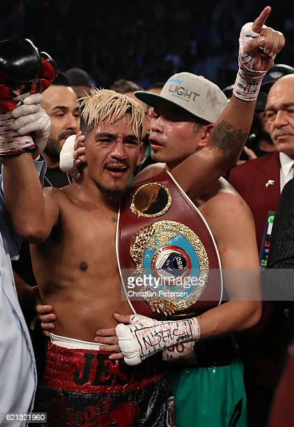 Jessie Magdaleno is congratulated by opponent Nonito Donaire of the Philippines after his unanimousdecision victory in their WBO junior featherweight...