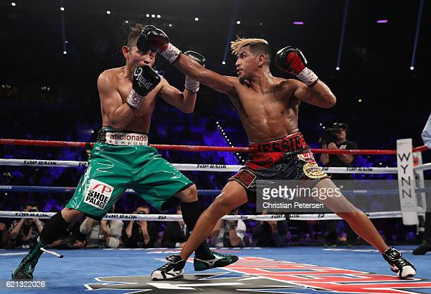 Jessie Magdaleno lands a right to the head of Nonito Donaire of the Philippines during their WBO junior featherweight championship fight at the...
