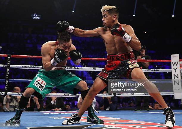 Jessie Magdaleno lands a right to the head of opponent Nonito Donaire of the Philippines during their WBO junior featherweight championship fight at...