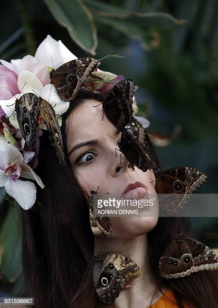 Jessie May Smart wearing a floral crown made of tropical flowers reacts as butterflies are placed on her face during a photocall to mark the opening...