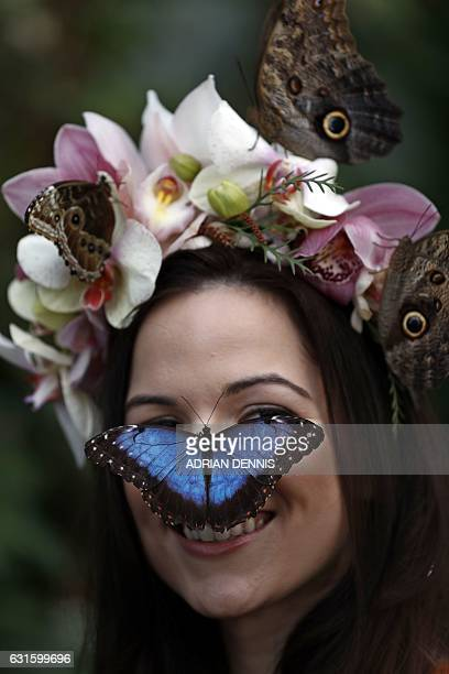 Jessie May Smart wearing a floral crown made of tropical flowers poses with butterflies on her face during a photocall to mark the opening of...