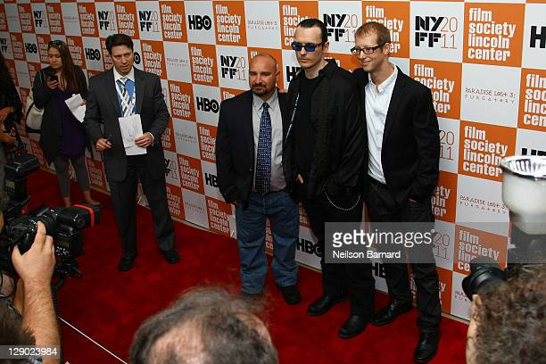 Jessie Misskelley Jr Damien Echols and Jason Baldwin attend the 49th annual New York Film Festival presentation of Paradise Lost 3 Purgatory at Alice...