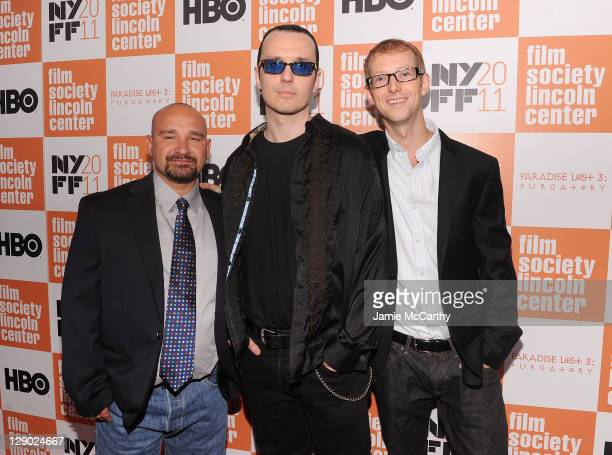 """Jessie Misskelley Jr., Damien Echols, and Jason Baldwin attend the 49th annual New York Film Festival presentation of """"Paradise Lost 3: Purgatory"""" at..."""