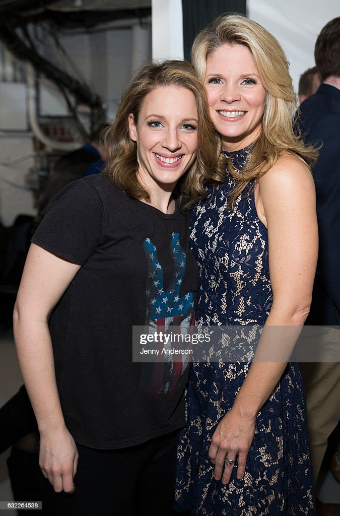 Jessie Mueller and Kelli O'Hara attend Concert For America: Stand Up, Sing Out! at Town Hall on January 20, 2017 in New York City.